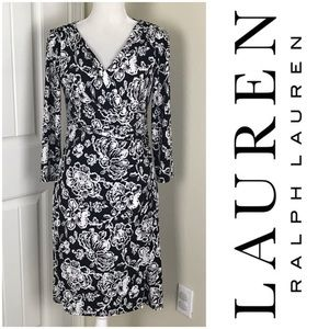 Lauren Ralph Lauren Floral Print Dress Faux Wrap 8